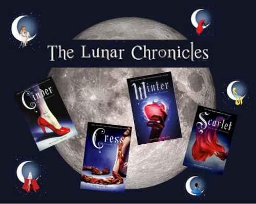 Image shows a moon with 'The Lunar Chronicles' written across the top of it and each of the four books on the graphic with a picture of each leading character sitting on their own moon